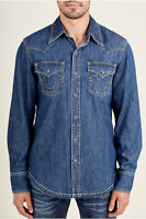 True Religion Men's Long Sleeve Western Shirt Released Hem in Manhattan Sand