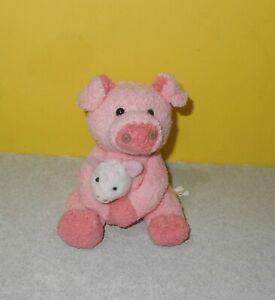 "4"" Small Mini Russ Luv Pets Pink Pig Holding Baby Bean Plush Stuffed Animal"