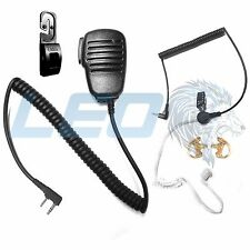 Mic + 3.5mm Earpiece + 2 Earmolds + Tactical Mic Clip for Kenwood 2-Pin Radios