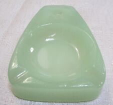 Art Deco #A small card desk tray ashtray soap dish Jadite green all glass USA