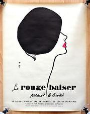 "orginal Werbe Plakat Poster ""le rouge baiser"" Rene Gruau 1948 sehr selten rare"