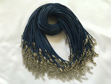 10/100pcs Blue PU Leather Cord Necklace With Lobster Clasp Charms Jewelry Cords
