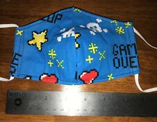 Video Game Blue, Red Face Mask, 2 fabric layers, fitted, reversible, small