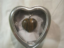 "Tiger Eye Solid Heart 18"" Silver Necklace w/Heart Box~Free Ship~LBDLB"