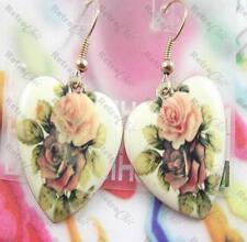 VINTAGE CHINTZ rose HEART EARRINGS enamel CREAM FLOWER PRINT CHARM gold pltd