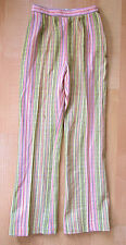 Vintage 1970's crazy pink green yellow stripe nubby high waist Brady pants 8