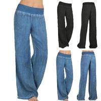 Women Wide Leg Pants Casual Loose Yoga Long Palazzo Jeans Lounge Wear Trousers @