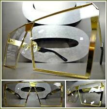 OVERSIZE VINTAGE RETRO SHIELD Style Flat Clear Lens EYE GLASSES Gold Metal Frame