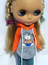 Blythe Doll Outfit Clothing Bear Print Long Sleeve Tee (Orange)