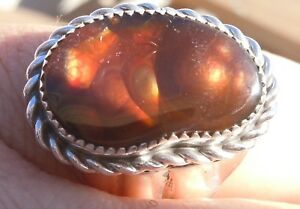 New Mens Sterling Silver Jewelry 13.77 ct Fire Agate Gemstone Ring size 10 5/8