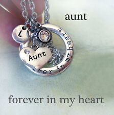 Aunt Forever In My Heart Necklace w-Swarovski Birthstone Crystal & Letter Charm