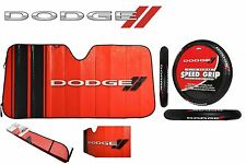 2 Pc Dodge Elite Sun Shade & Steering Wheel Cover Combo Windshield Black/Red