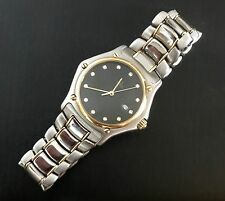 EBEL 1911 MID SIZE QUARTZ 2 TONE STAINLESS STEEL AND 18KT YELLOW GOLD BLACK D...