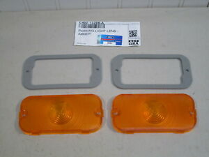 NEW 1961-1964 FORD GALAXIE AMBER PARKING LAMP LENSES & GASKETS.. FOMOCO SCRIPT