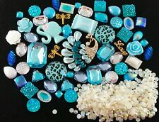 USA DIY 3D Bling Cell Phone Case Deco kit Teal Blue peacock AB Rhinestones Pearl