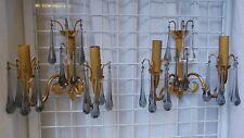 Coppia di applique in Bronzo dorato gocce di cristallo Modernariato Vintage