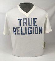 Mens True Religion Jeans Top Graphic Logo T-shirt Tee Off White V-Neck L XL 2XL