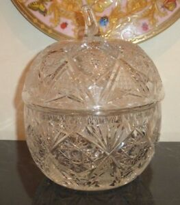 American Brilliant Cut Glass with Lid Covered Apple Shape Bowl