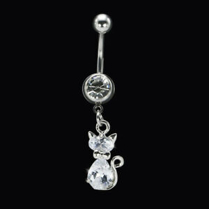 316L Surgical Steel Belly Button Ring Cat Bar Crystal Rhinestone Piercing Navel