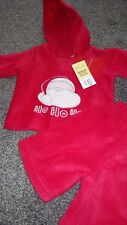 Matalan Baby Christmas Newborn Santa 'HO HO HO' Hoodie Outfit Red Fleece New