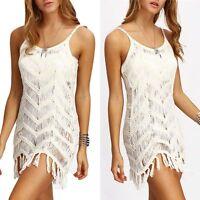 Women Summer Casual Sleeveless Evening Party Lace Crochet Beach Short Mini Dress