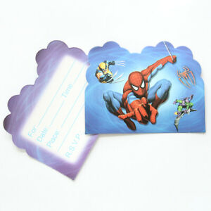 10pc Spiderman Super Hero Blue Kids Party Invitations Happy Birthday