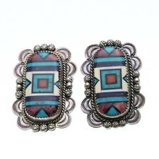 Vintage 925 Sterling SIlver Turquoise Inlay Earrings Native American big Estate