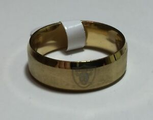 Las Vegas/Oakland Raiders Gold Tone Stainless Steel Engraved Ring Sizes 6 - 13