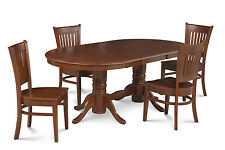 "5 Pc  Oval Dinette Kitchen Dining Room Set 42""x78"" Table & 4  Chairs in Espresso"