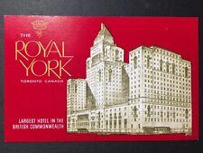 Vintage POSTCARD c1930-40s Royal York Hotel TORONTO, CANADA (19851)