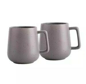 Modern 4 Piece Grey Speckled Stoneware Mugs Cups Dinner Set Tableware