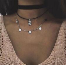 Layers Vinage Women Boho Silver Pineapple Wafers Chain Pendant Choker Necklace