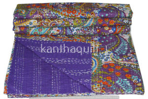 Indien Purple Paisley Queen Size Kantha Handmade Quilt Cotton Bed Cover Throw