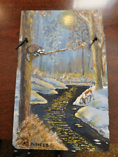 Orig.Oil Painting on 100+ Yr Slate Moonlit Racoon Hunt by Pg Munroe