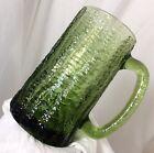 "2 Textured Bark Iridescent Green Glass Beer Stein 5 1/2"" Heavy 1 Lb +  Vtg RARE"