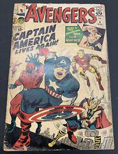 The AVENGERS #4 LOW GRADE 1st Silver Age Captain America Marvel KEY Comic