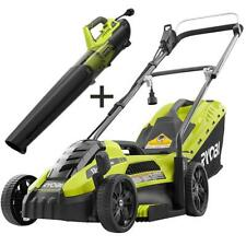 Electric Lawn Mower Push Walk Behind Leaf Blower Combo Kit Corded Ryobi New