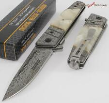 "8"" TAC-FORCE Mother Of Pearl MOP Damascus Etched Spring Assisted Opening Knife"