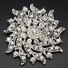 1 Big Silver Clear Rhinestone Crystal Brooch Pin Women DIY Wedding Bouquet 6.3cm
