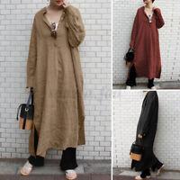 ZANZEA Damen Baumwolle Lang Shirtkleid Oversize Lang Hemd Kleid Freizeit Dress