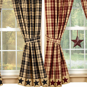 "Farmhouse Star Lined Curtain Panels, Burgundy or Black and Tan, 63"" 84"" Lengths"