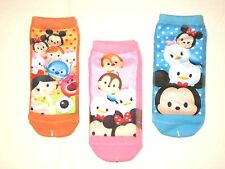 LOT OF 3 DISNEY TSUM TSUM LOW-CUT ANKLE SOCKS, ORANGE, PINK, BLUE SZ. 9-11