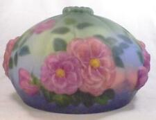Vintage Art Glass Lamp Shade Pink Flowers on Blue Puffy Large A Beauty