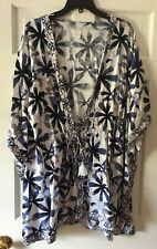 NEW Shimera Rayon Floral Watercolor Front Tassel Tie Short Sleeve Robe L/XL