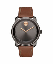 MOVADO BOLD 3600378 Large Gunmetal Stainless Steel Cognac Leather 42mm Men Watch