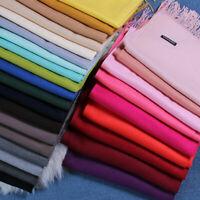 Women Oversized Cashmere Wool Solid Pashmina Scarf Wraps Warm Blanket Scarves