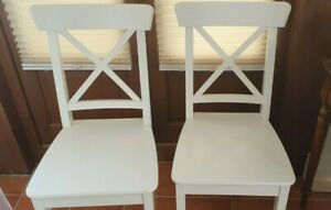 Two IKEA INGOLF chairs white Two Dining Kitchen Chairs Pair