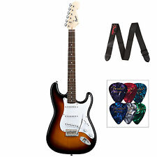 Squier Bullet Strat With Tremolo Includes Fender Strap & Picks In Brown Sunburst