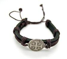 """Jerusalem cross leather bracelet with metal cross center medal 8"""" adjustable"""
