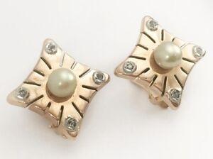 Vintage 18k Rose Gold Natural Diamond & Pearl Earrings Omega Back Square 12MM